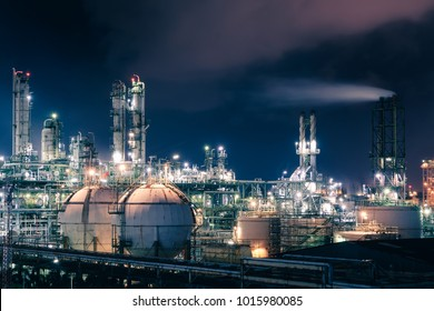 Glitter lighting of petrochemical plant with night, Manufacturing of petroleum, Products tank in petrochemical plant