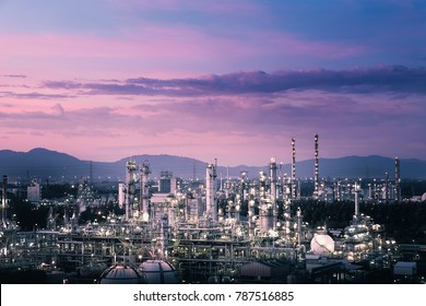 Glitter lighting of petrochemical plant with sunset sky background, Estate industry of fossil petroleum