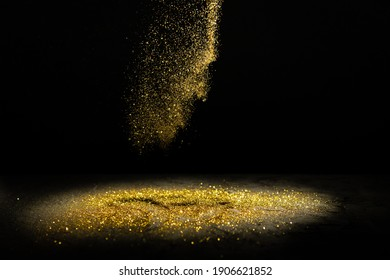 glitter lights grunge background, glitter defocused abstract Twinkly Lights and Stars Christmas Background.sprinkle gold dust on a black background with copy space.