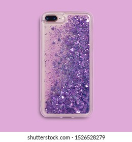 Glitter liquid iPhone 8 plus case back view isolated on pink background. Clear phone case mockup