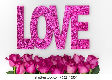 Glitter phrase Love with roses