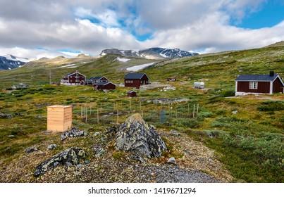 Glitterheim huts in Jotunheimen mountain area, the departure to hike Glittertinden peak. Oppland, Norway.