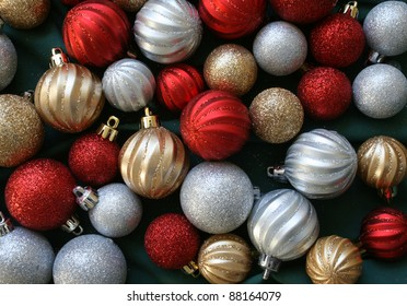 Glittering Christmas Ornaments Background