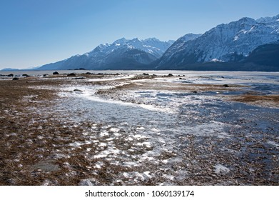 Glittering ice on the beach at low tide in winter on the Chilkat Estuary near Haines Alaska on a sunny day.