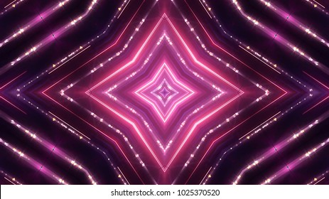 Glittering neon lights stage