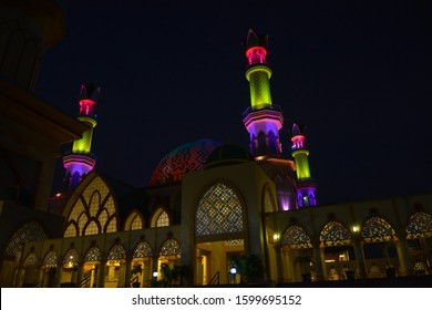 Glittering at night, Habbul Wathan Mosque, Islamic Centre of West Nusa Tenggara, Mataram, Lombok, Indonesia