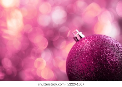 Glittering pink Christmas card background