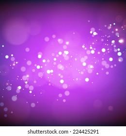 glittering stars on blurred purple background