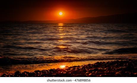 glittering sunset beach