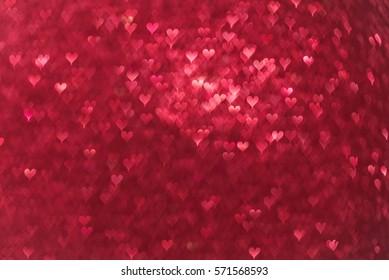 Glittery heart bokeh background. Valentine's Day background