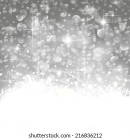 Glittery lights silver abstract Christmas background. Perfect as invitation or announcement.