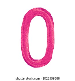Glittery pink sparkling uppercase or capital letter O in a 3D illustration with a shiny plastic pink sparkle glitter effect and handdrawn font isolated on a white background with clipping path.