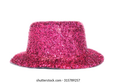 Glittery Pink Top Hat Isolated on White Background, Selective Focus