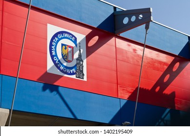 Gliwice, Poland - May19 2018:Piast Gliwice city stadium. Winner of the first division in 2018/2019, Poland