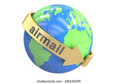 Global Airmail concept, 3D rendering isolated on white background