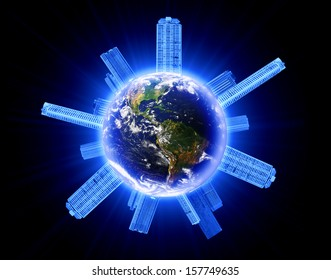 global business concept, Earth globe image provided by NASA