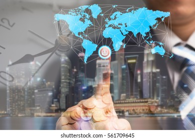 Global business concept and finance conceptual with businessman turn on power switch to connect people network communication with digital world map, money and worldwide, IOT internet of things concept
