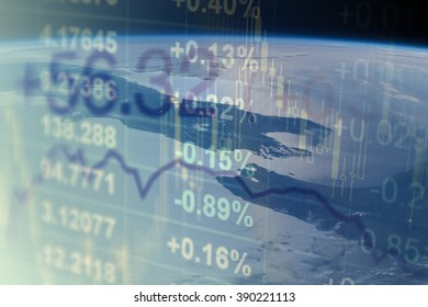 Global business concept. Multi-layered image - earth with financial data. Elements of this image are furnished by NASA.