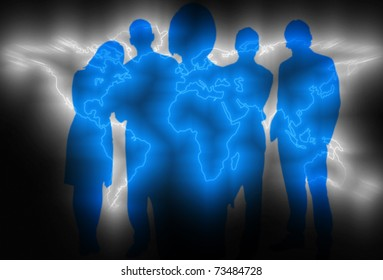 Global business concept with world map and business people