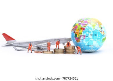 Global and Business Concept.engineering team miniature people figure standing at working site at airport concept ,Transportation, import-export and logistics concept