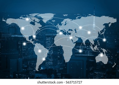 Global business connection concept. Double exposure world map on capital financial city background. Elements of this image furnished by NASA