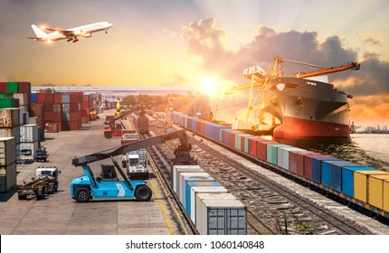 Global business of Container Cargo freight train for Business logistics concept, Air cargo trucking, Rail transportation and maritime shipping, Logistics business concept, distribution, delivery