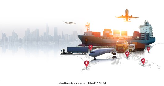 Global business of Container Cargo freight train for Business logistics concept, Air cargo trucking, Rail transportation and maritime shipping, Online goods orders worldwide - Shutterstock ID 1864416874
