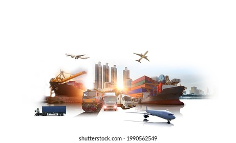 Global business of Container Cargo freight train for Business logistics concept, Air cargo trucking, Rail transportation and maritime shipping, Online goods orders worldwide - Shutterstock ID 1990562549