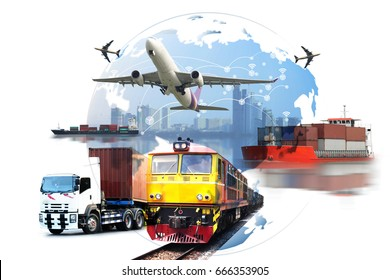 Global business of Container Cargo freight train for logistic import export, Business logistics concept ,  Air cargo trucking , rail transportation , maritime shipping , On-time delivery