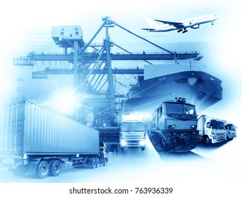 Global business of Container Cargo freight train for Business logistics concept, Air cargo trucking, Rail transportation and maritime shipping, distribution, delivery, service, shipping, import export