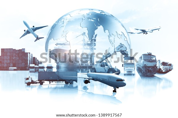 Weltweites Geschäft mit Containerfrachtzug für Business Logistics-Konzept, Luftfrachtwagen, Schienen- und Seeschifffahrt, Online-Warenbestellungen weltweit