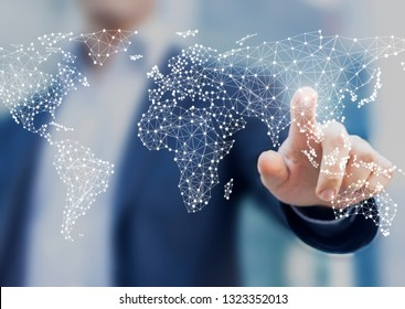 Global business and finance concept with businessman touching world map with connected dots in network architecture for telecommunication, internet of things, financial technology, data servers