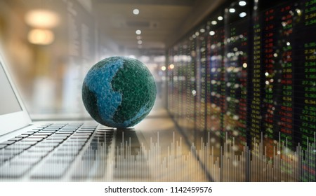 global business and invest concept. global on computer with volume investment of stock market background.