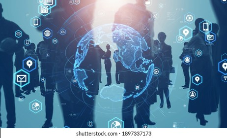 Global business network concept. Group of person. Teamwork. Human resources.