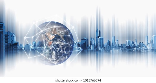 Global business and networking, Double exposure Globe with network connection lines and modern buildings, on white background. Element of this image are furnished by NASA