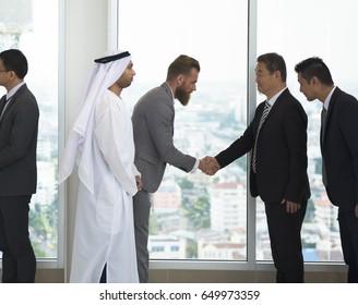Global business Partners meeting Handshake Bow