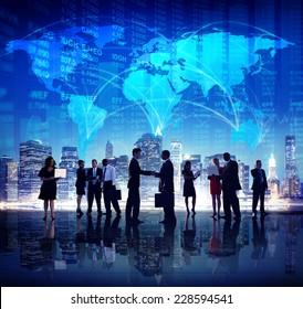 Global Business People Hand Shake Finance City Concept