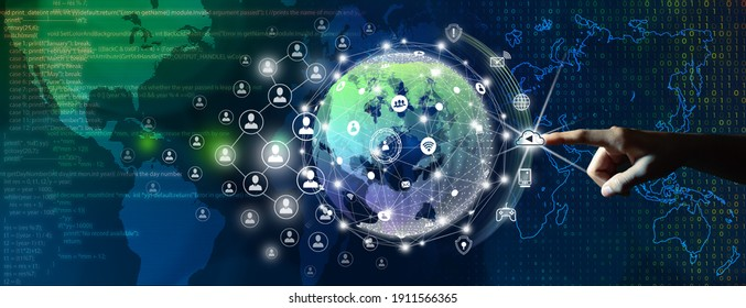 Global business, People and Network connection concept.  Businessman leading the global connection with connecting people orbit around the world. Code program, Digital binary and World map background. - Shutterstock ID 1911566365