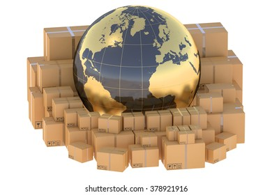 Global cargo shipping concept isolated on white background