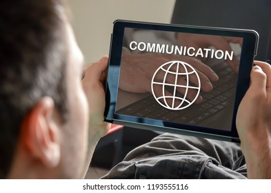 Global communication concept on a tablet