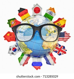 Global communication, education, language learning and translation concept, houses in colors of national flags of world countries around Earth globe with glasses, 3d illustration (Elements by NASA)