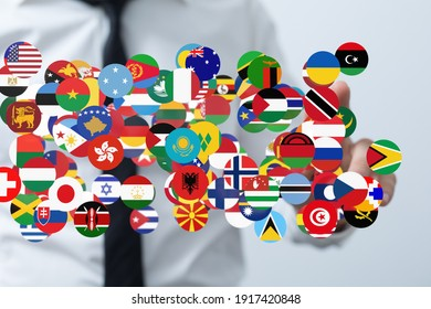 Global communication and international messaging concept, national flags of world