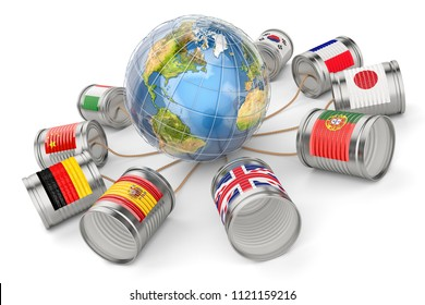 Global communication, international messaging and translation concept, tin can phones with flags of the world countries around the Earth globe, isolated on white background, 3d illustration