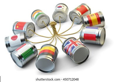 Global communication, international messaging and translation concept, tin can phones with flags of world countries connected by rope, isolated on white background, 3d illustration