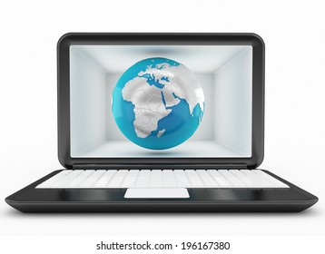 global communication and laptop concept