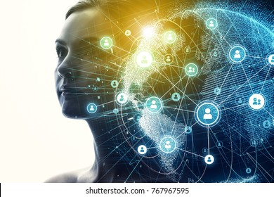 Global communication network and AI (Artificial Intelligence) concept.