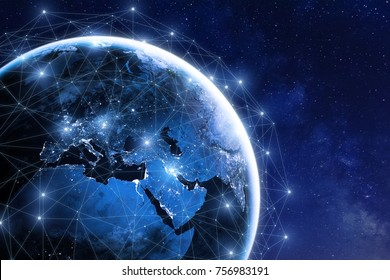 Global communication network around planet Earth in space, worldwide exchange of information by internet and connected satellites for finance, cryptocurrency or IoT technology, image furnished by NASA