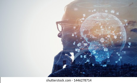 Global communication network concept. AI (Artificial Intelligence) concept.