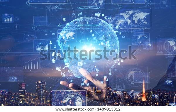 Global communication network concept. Digital transforamtion. GUI (Graphical User Interface).