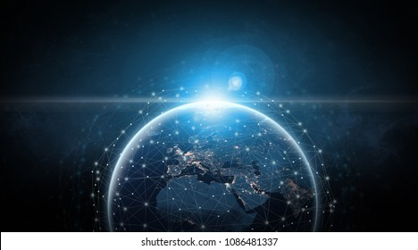 Global communication network concept network dots surrounding planet earth with focus on Europe. Information exchange via satellites.